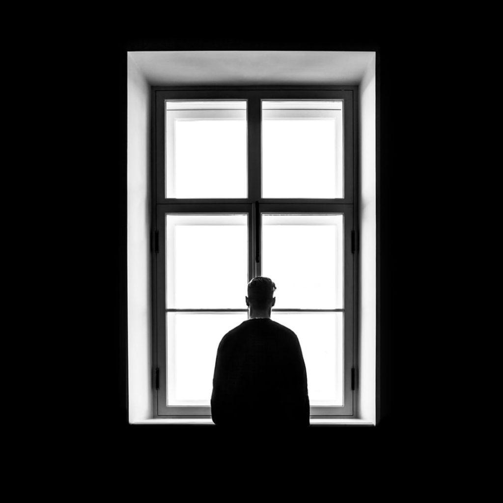 depresyon, pencere, siyah, beyaz, genç, adam