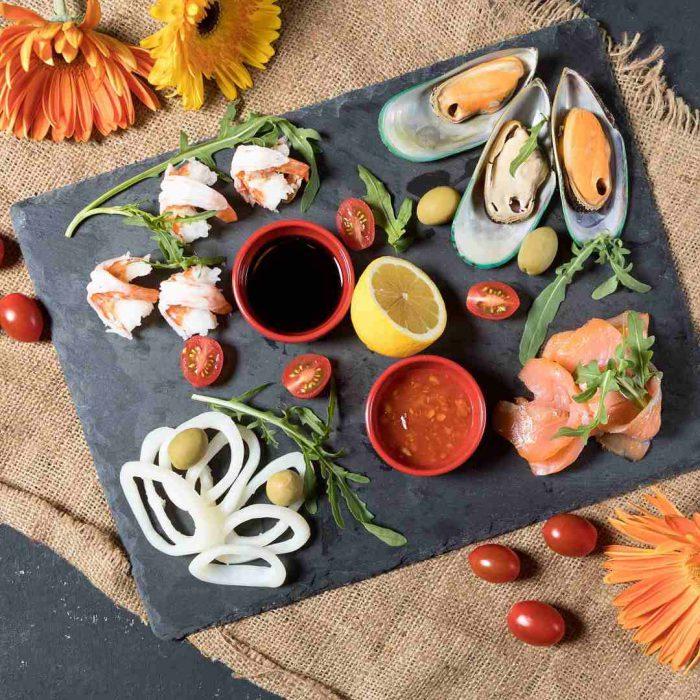 kahvaltı, cicek, turuncu, limon, balık, zeytin, domates, sos, çay