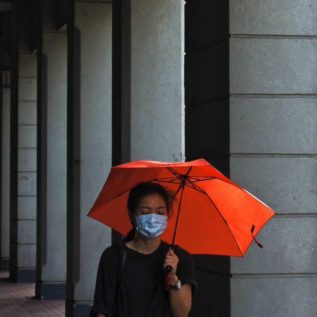 Koronavirüs, maske, şemsiye, kadın, virüs, salgın