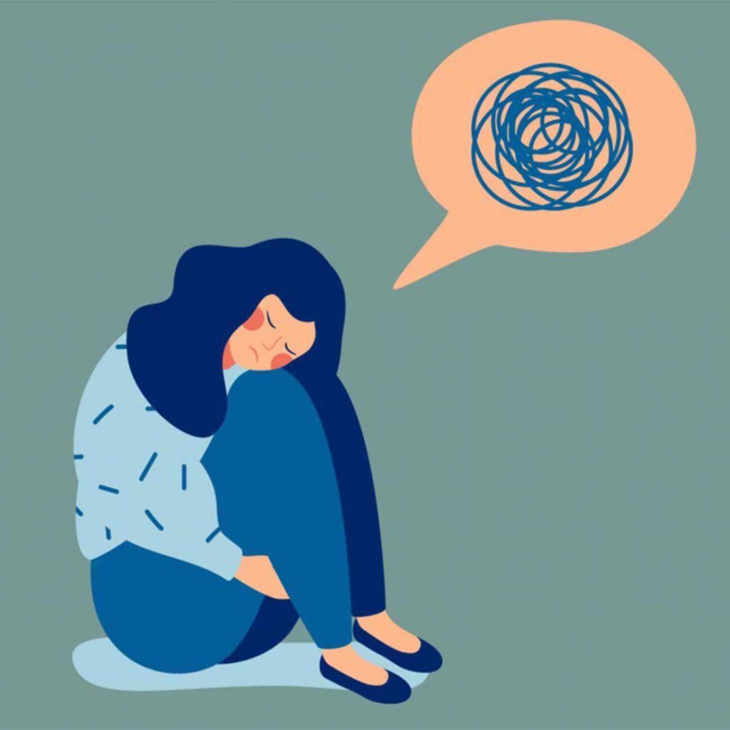 kaygı, korku, anksiyete, düşünmek, kadın, mavi, düşünce