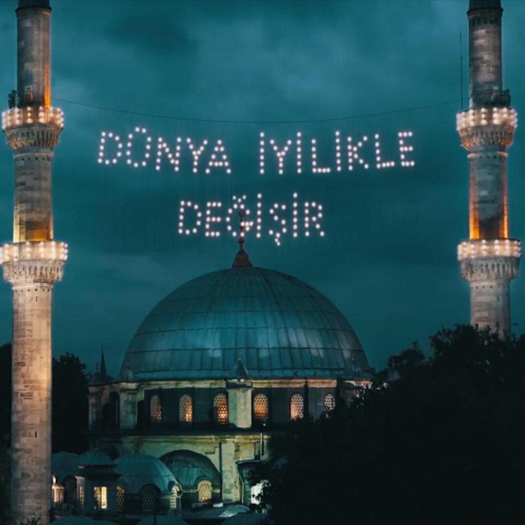 ramazan, cami, mahya, cami ışıklı yazı, dünya iyilikle değişir