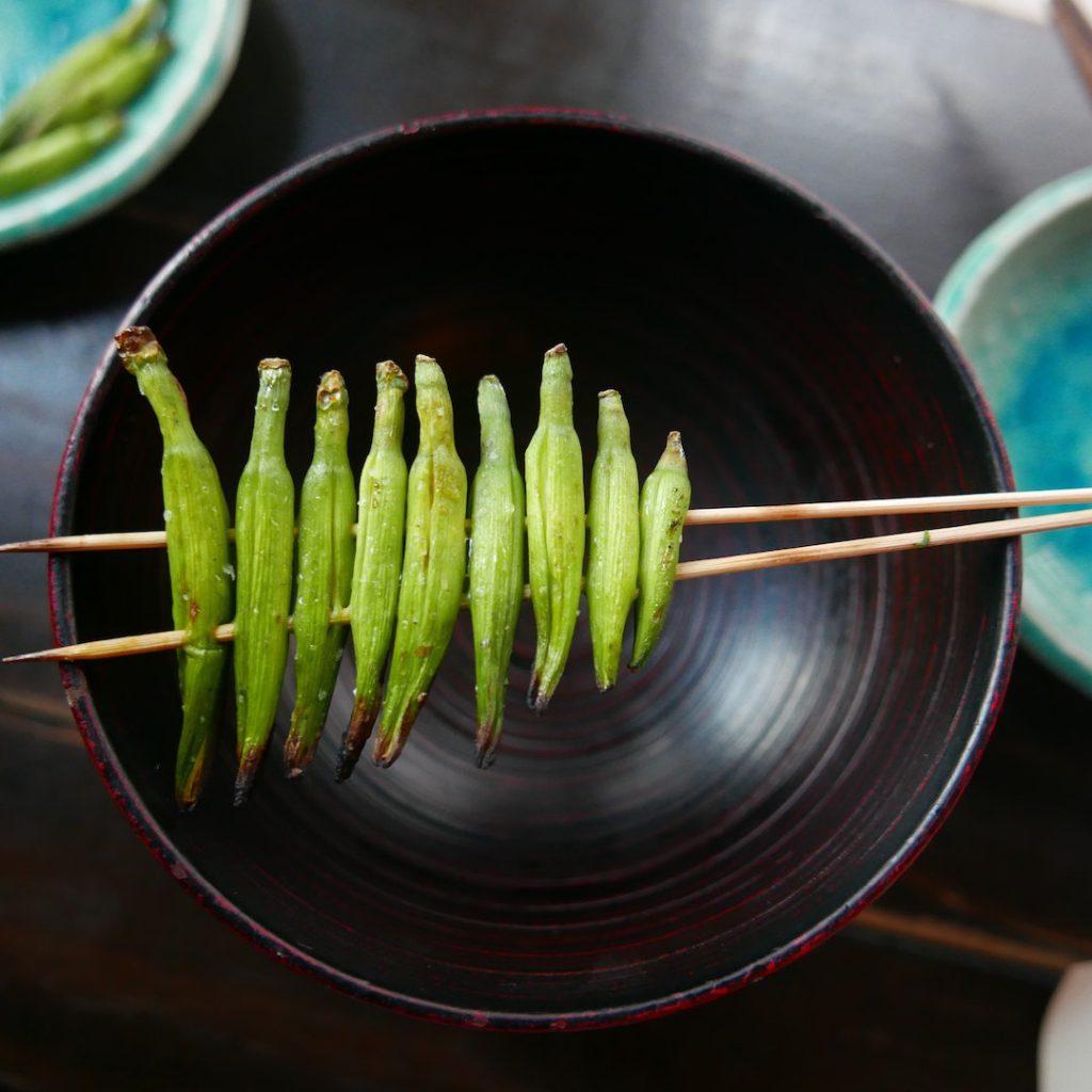 bamya, yeşil, yeşil sebzeler, sebze, ızgara, vegan, vejetaryen