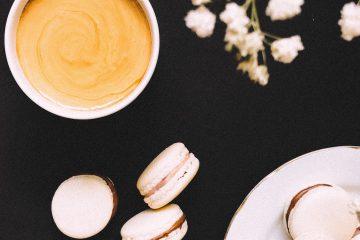 vanilya, kahve, çiçek, makaron