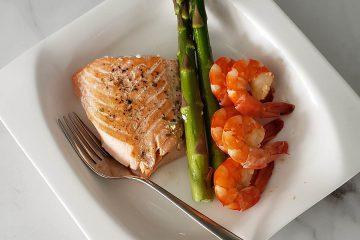 tabak, öğün, yemek, sunum, diyet, asparagus, kuşkonmaz, balık, karides, somon