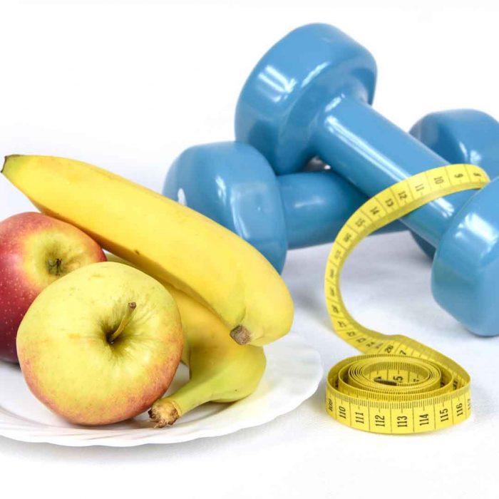 yaşam tarzı, yaşam değişikliği, yeme, obezite, obez, elma, muz, dumbel, mezura