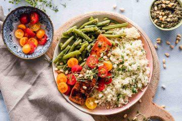 yemek, öğün, diyet, balık, yeşillik, sunum, domates, pirinç, fasulye
