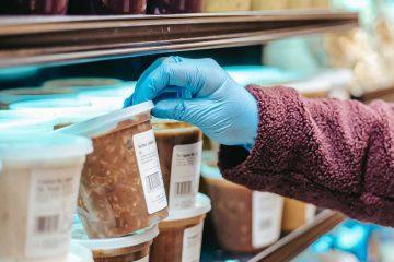 gıda etiketi, kovid, alışveriş, pandemi, raf, market, eldiven