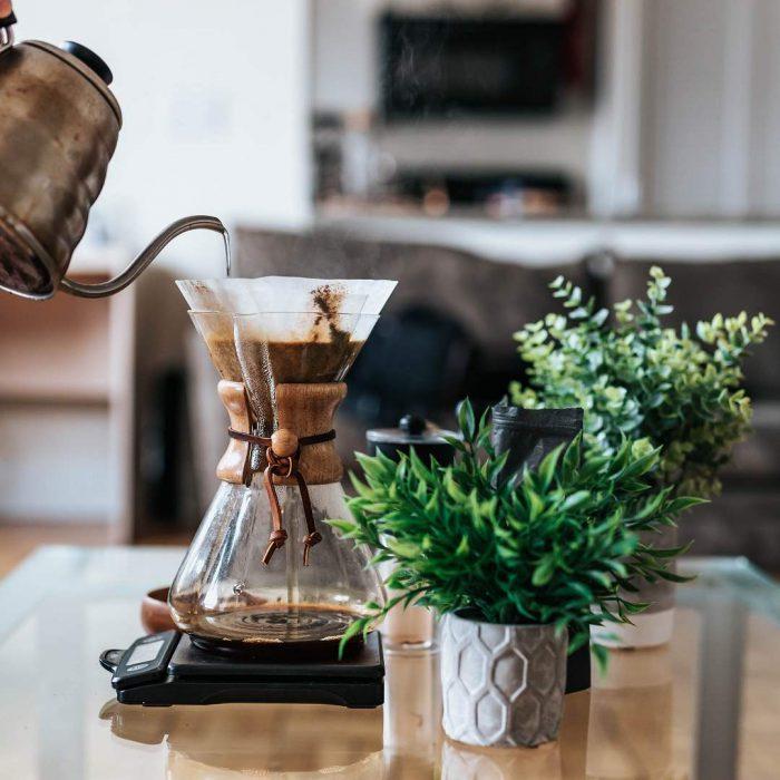 kahve, mokapot, yeşillik, masa, mutfak, ara öğün