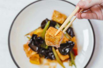 sağlıklı menü, tofu, yemek, sunum
