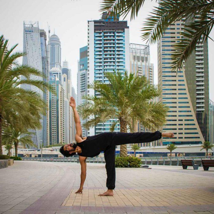 şehir, adam, yoga, spor, stres