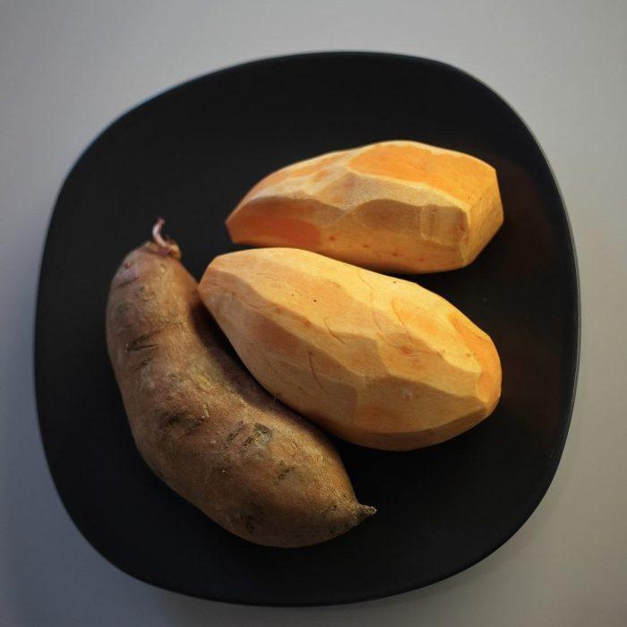 tatlı patates, mor patates, sebze, kesme tahtası