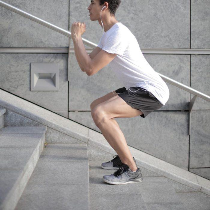 Squat, spor, egzersiz, merdiven, kulaklık, müzik