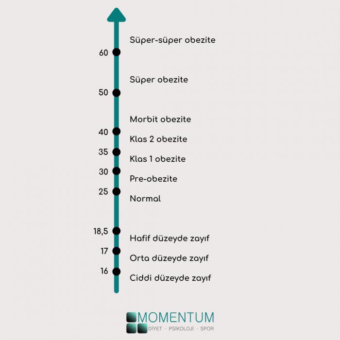 Beden kütle indeksi tablosu, vücut kitle endeksi listesi, BKİ, BMI, VKİ, VKE