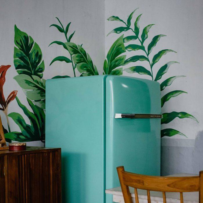 mutfak, buzdolabı, refrigerator, yeşil, motif, sandalye