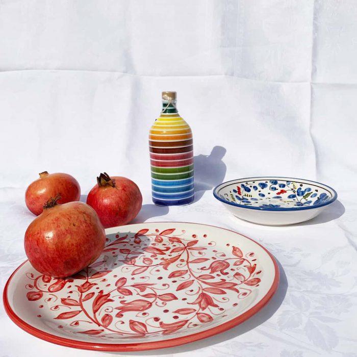 gökkuşağı, renkler, tabak, motif, nar meyvesi, pomegrenate, kırmızı, meyva