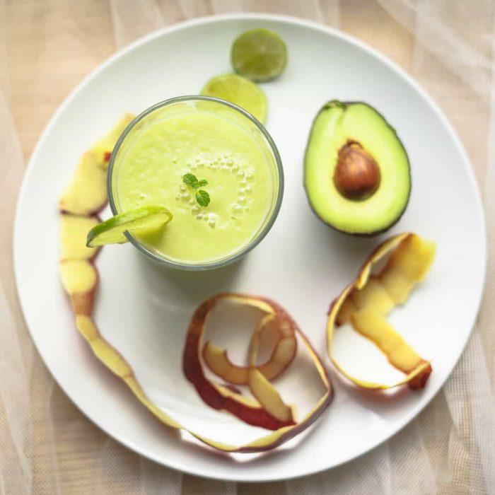 avokado, meyve, smoothie, nane, elma kabuğu, kabuk