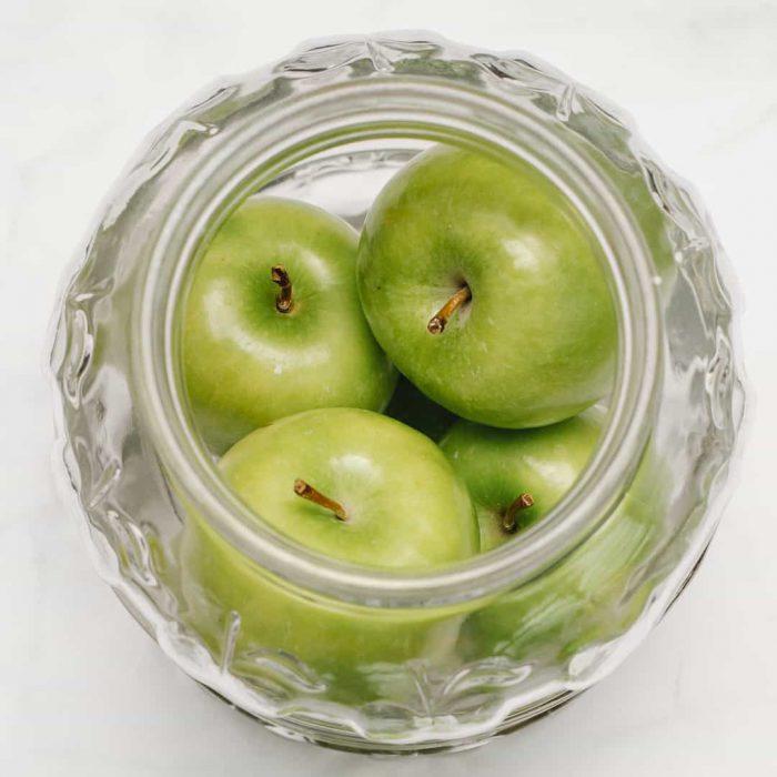 yeşil elma, meyve, , cam, kavanoz