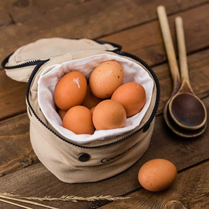 yumurta, sarı yumurta, tahta kaşık, torba, köy yumurtası, tahta