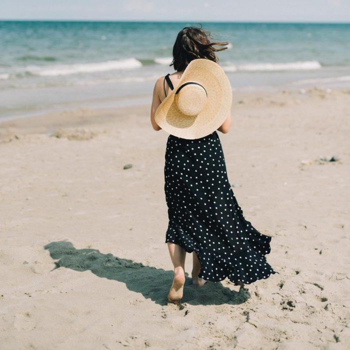 Sahil, kumsal, deniz, sıcak, hasır şapka, yalınayak, elbise