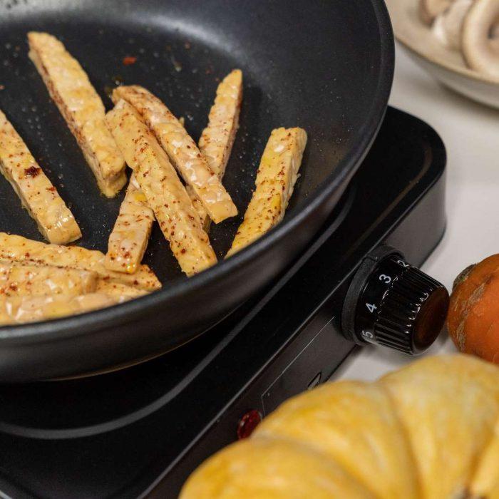 kızartma, kabak, yemek yapma, tempe, tempeh, soya ürünü, soya fasulyesinden yapılan endonezya besini