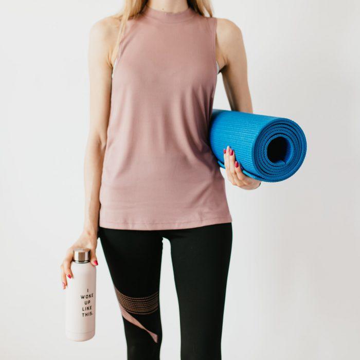 Egzersiz, spor, mat, su, suluk, termos, sportif kadın, spot kıyafet