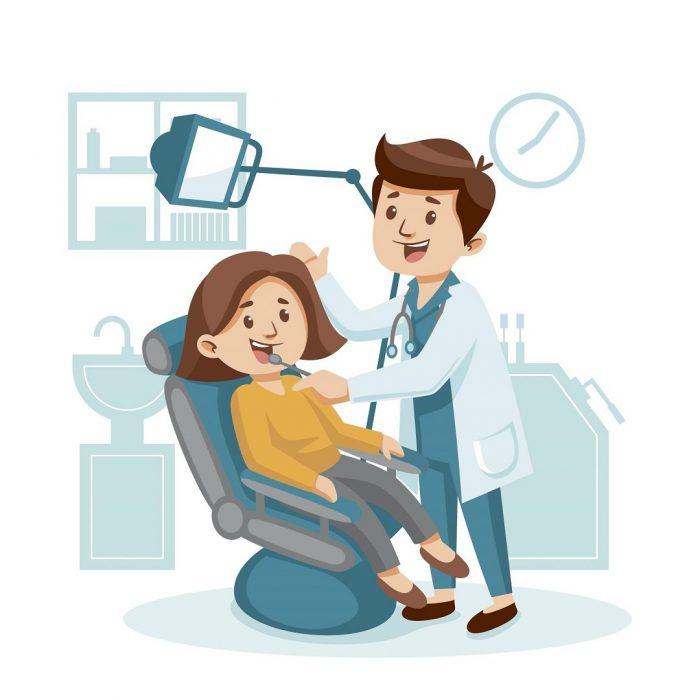diş doktoru, diş hekimi, diş muayenesi çizimi
