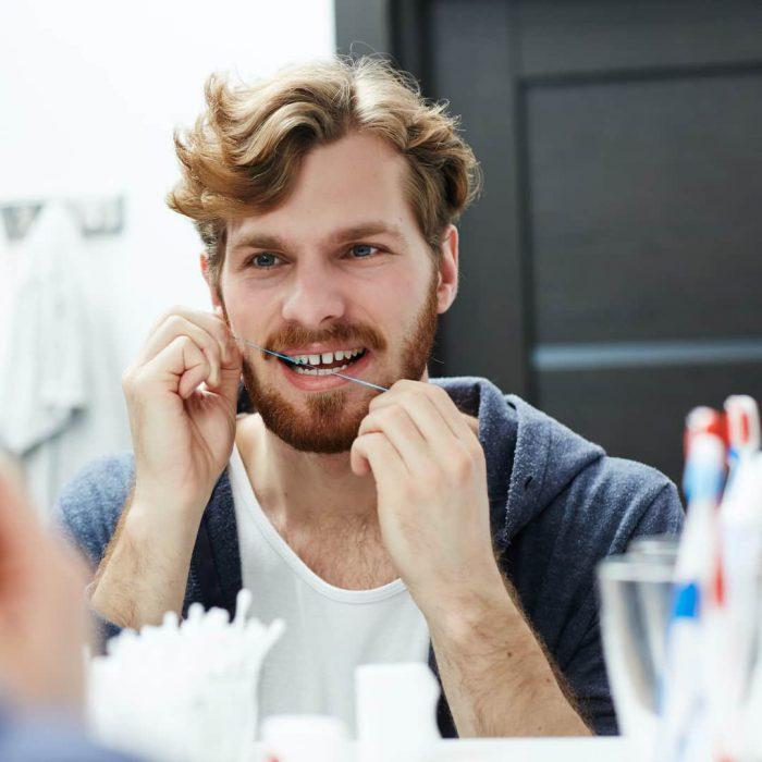 ağız ve diş sağlığı, erkek, adam, diş bakımı, ayna, diş ipi, dental ip