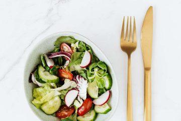 salata, çatal, bıçak, servis, sunum, diyet, yeşillik, domates